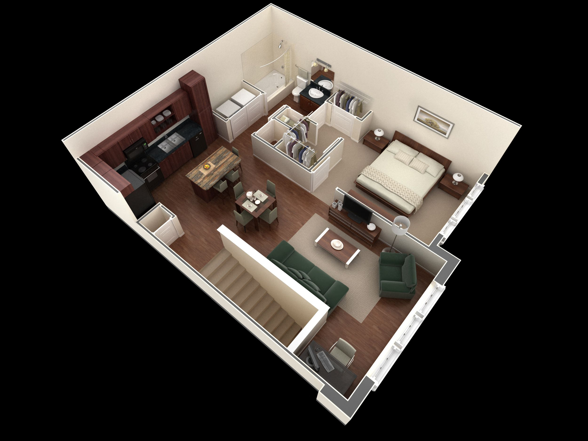 One Bedroom Apartment Plans And Designs Glamorous 1 Bedroom Apartment  Designer Overlook This 1 Bedroom 1 Bath Decorating Inspiration