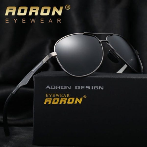 43f08549b4 AORON Mens Retro Metal Aviator Polarized Sunglasses Glasses Driving Eyewear