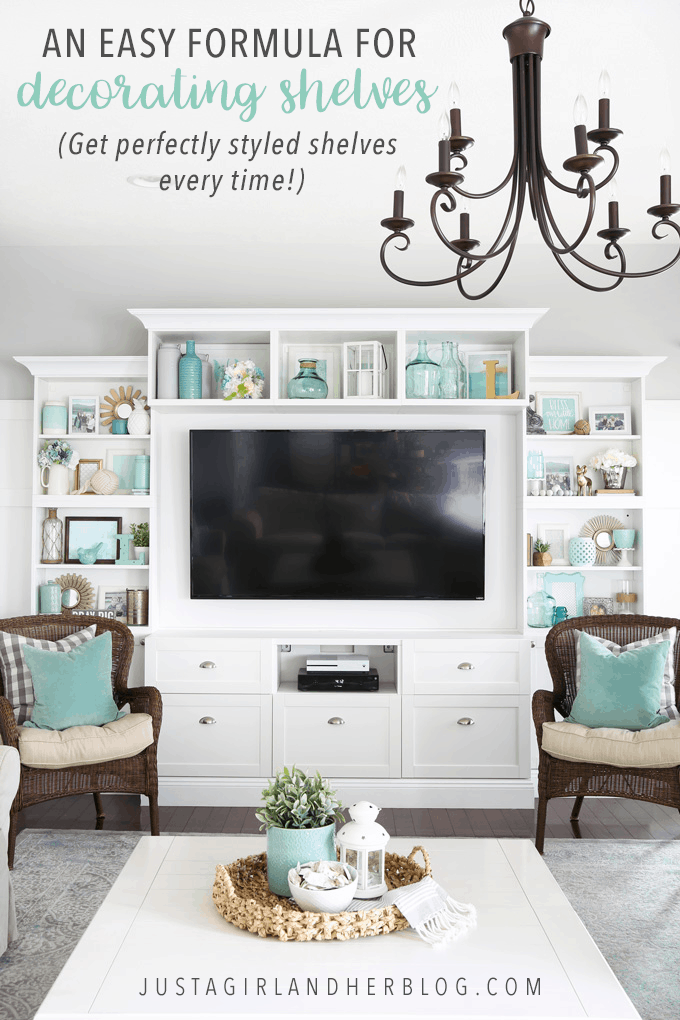 It can be a challenge to know how to decorate shelves, but this foolproof formula will teach you how to style shelves beautifully in no time! | #shelfie #shelfstyling #styledshelves #bookshelfstyling #livingroom #livingroomdecor #summerdecor #vignette
