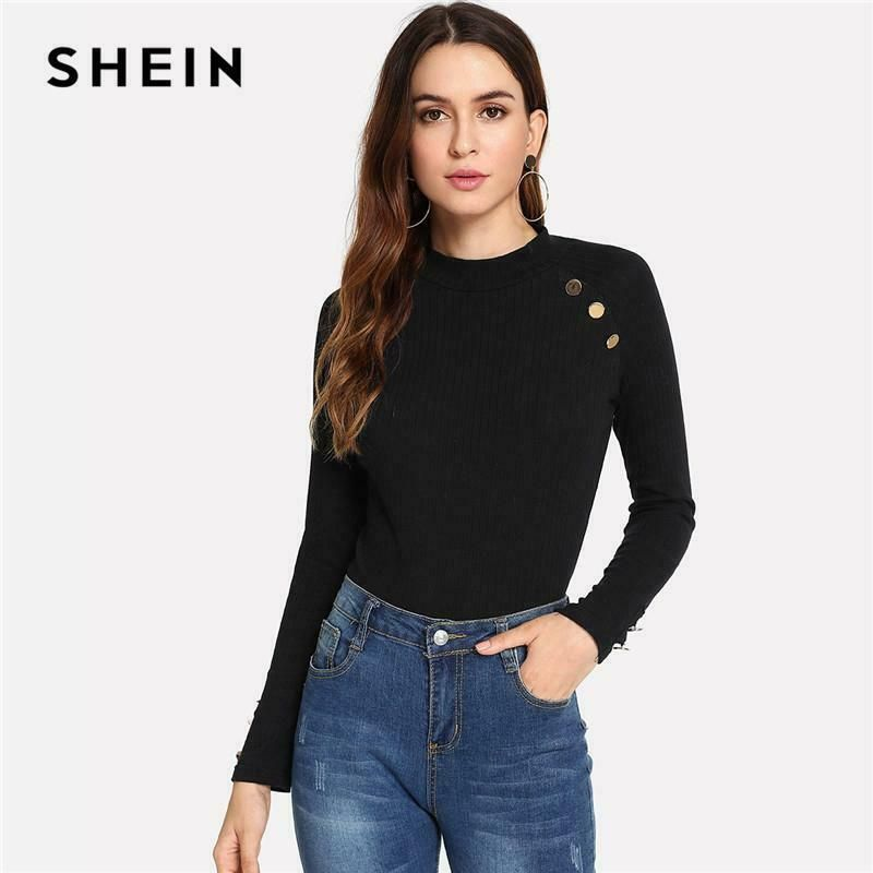 df8ce5954c SHEIN Black Modern Lady Weekend Casual Ribbed Knit Button Mock Neck ...