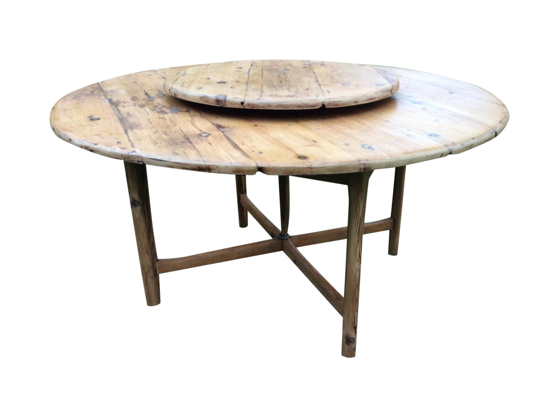 Antique Round Farmhouse Table With Lazy Susan Chairish