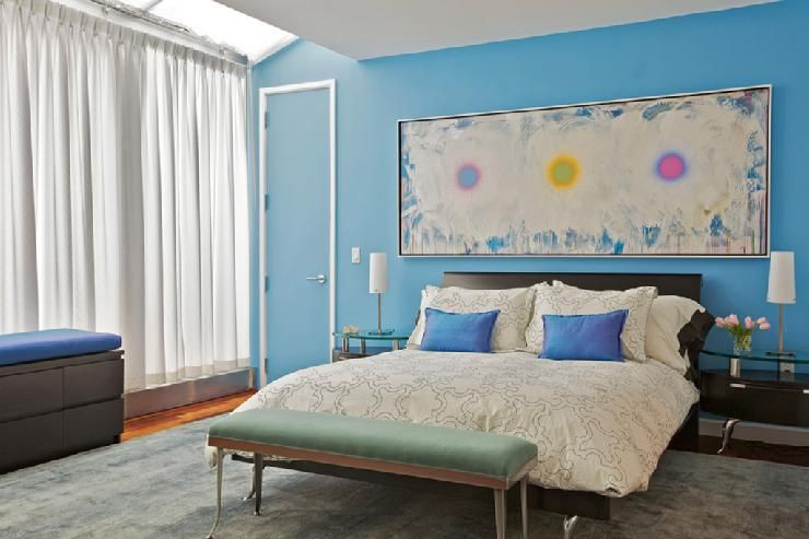 Bedrooms Benjamin Moore Sailor S Sea Blue Blue Wall Modern Master Bedroom Bedroom Wall Colors Master Bedroom Interior Design Blue Bedroom Walls