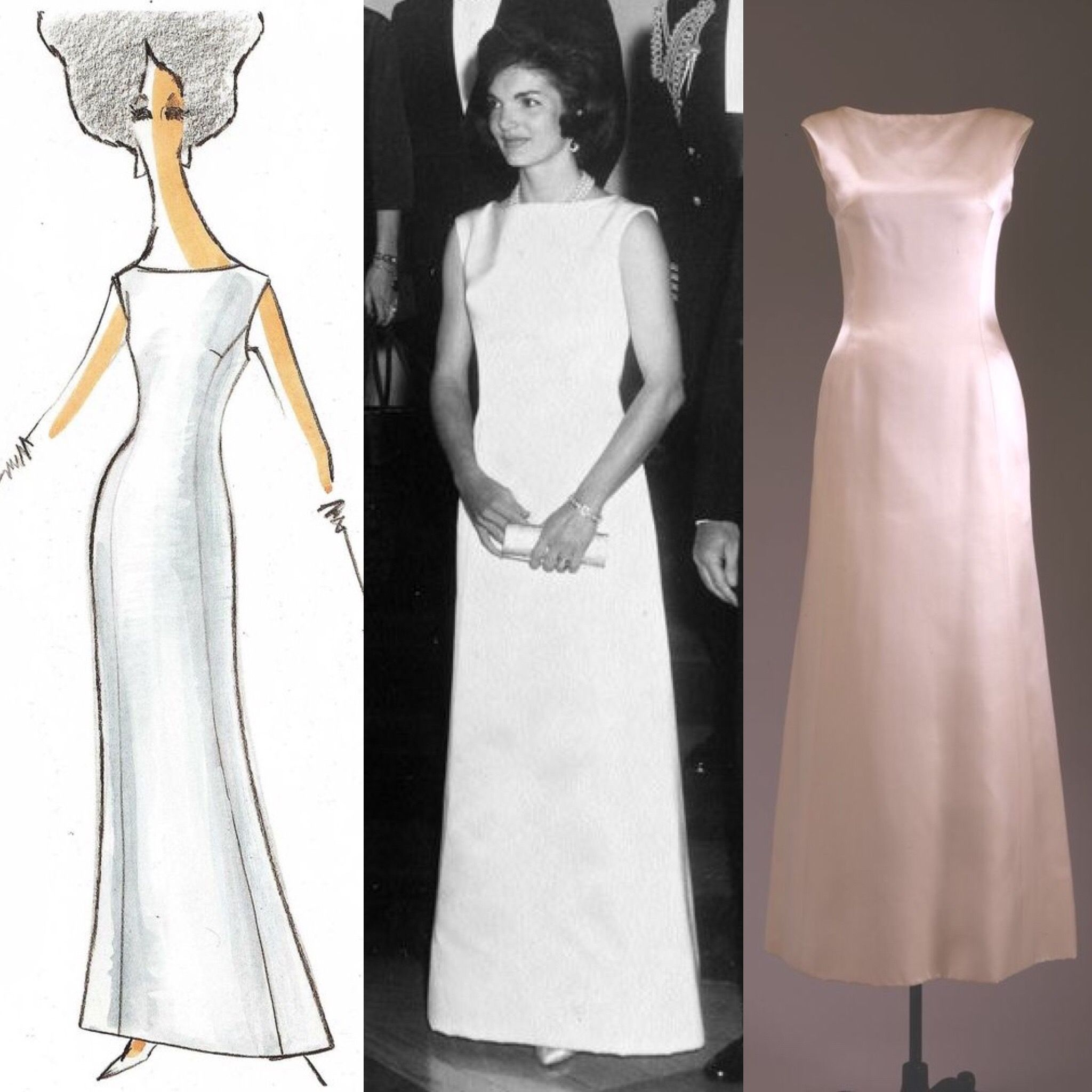 Jackie Kennedy Wore A White Silk Satin Gown Designed By Oleg Cini To Dinner At The House Honoring President Truman On November 1 1961