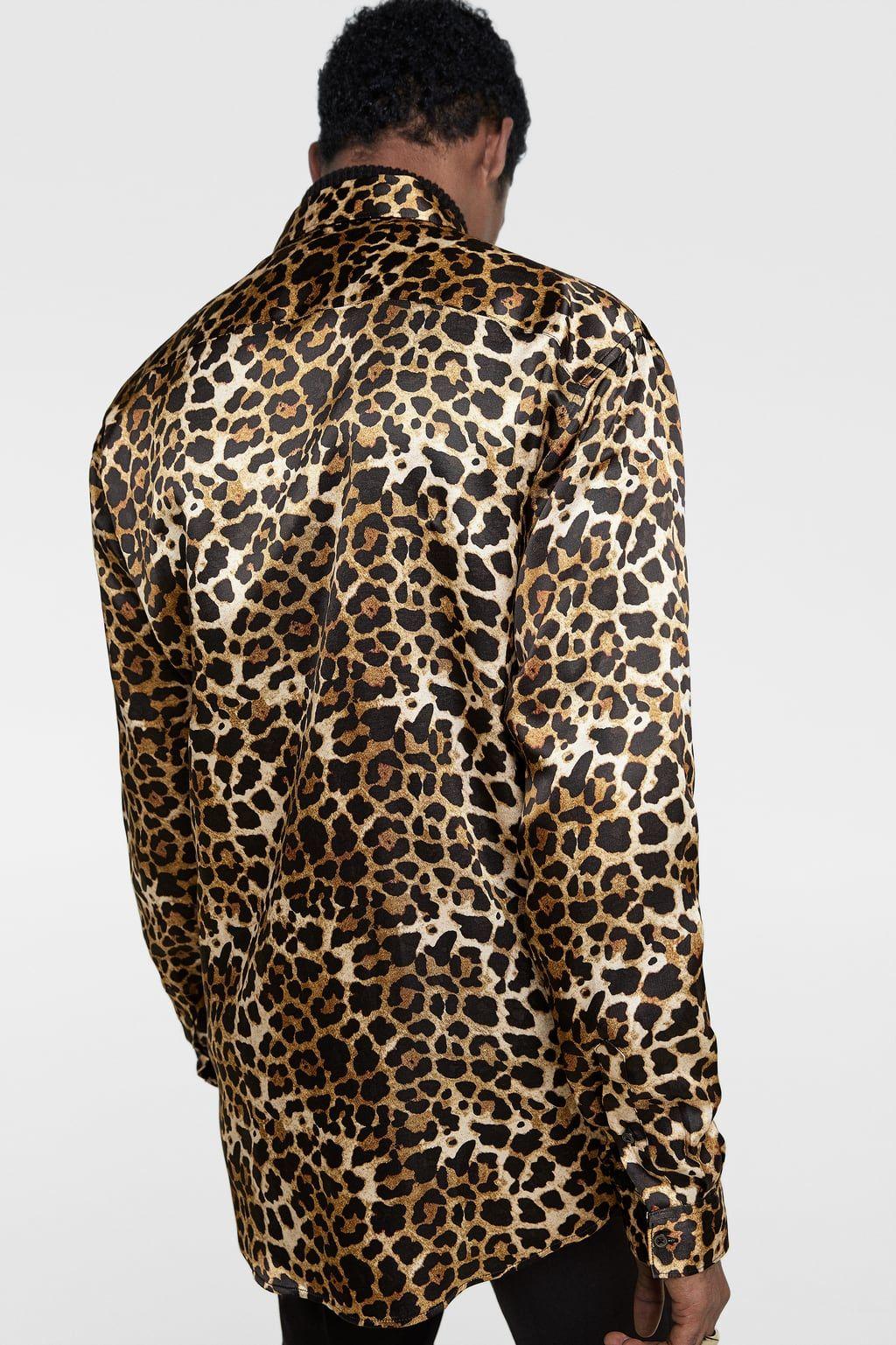 Image 3 Of Animal Print Satin Shirt From Zara Cheetah Print Shirts Printed Shirts Printed Shirts Men [ 1537 x 1024 Pixel ]