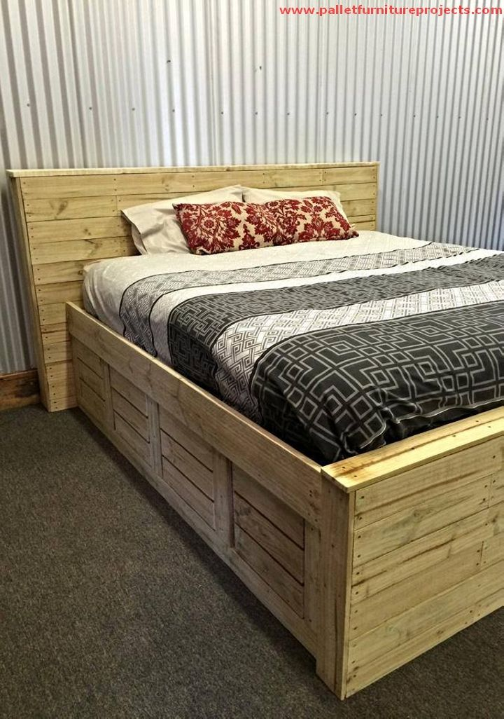 Stunning Pallet Made Bed Diy Pallet Bed Pallet Furniture How To Make Bed