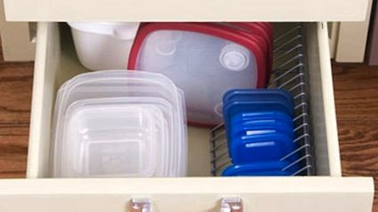 Use Cd Racks To Organize Tupperware Lids In Drawers