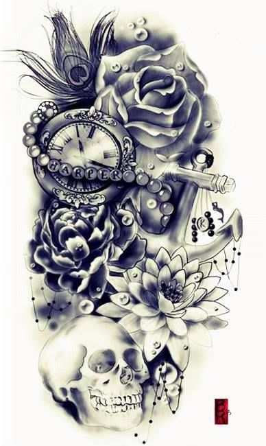 Main 3 4 Sleeve Idea For The Baby With Time Of Birth Minus Scull Tattoos Skull Tattoo Design Skull Tattoos