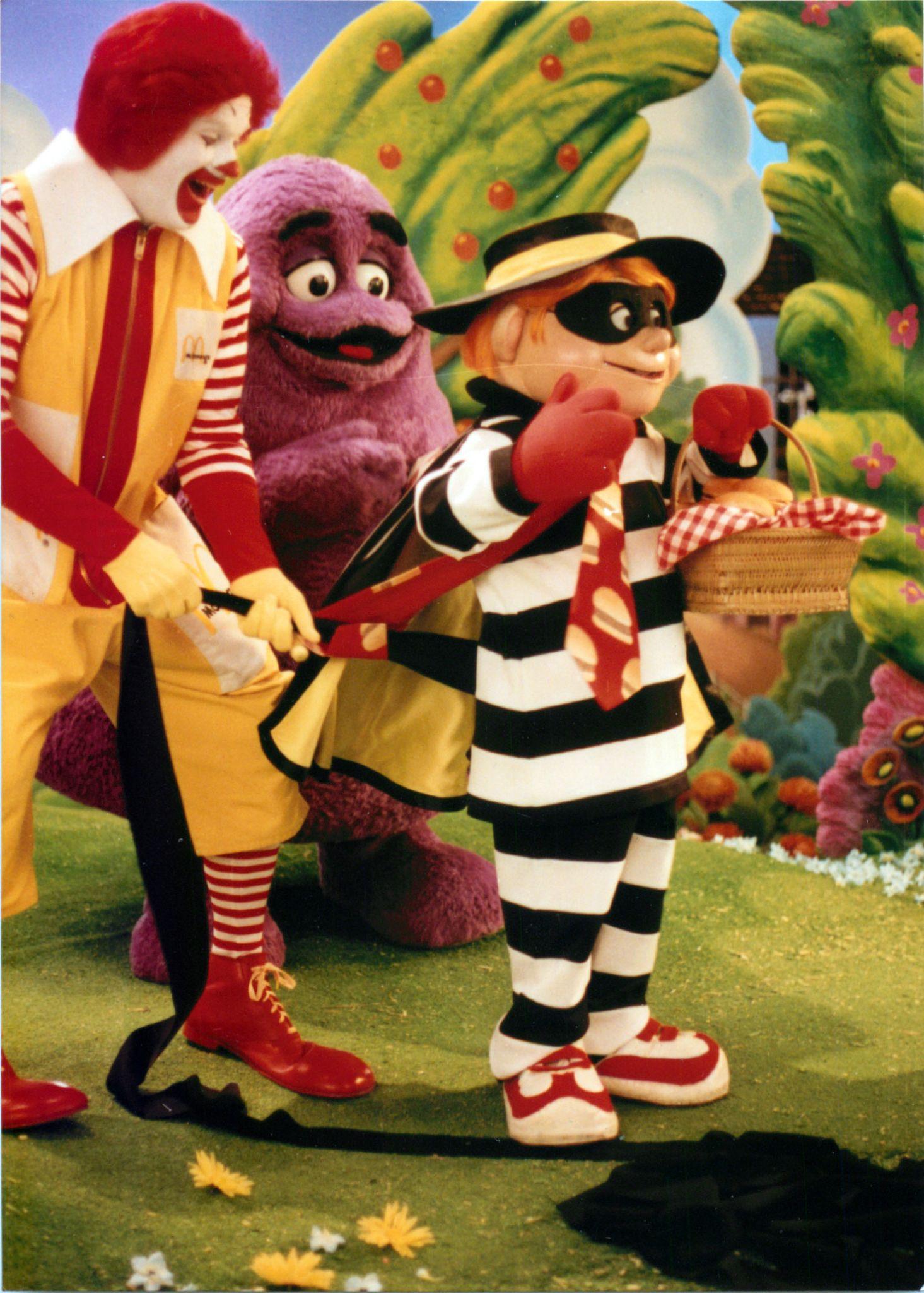 "how hamburglar got his stripes."" with ronald mcdonald and grimace"
