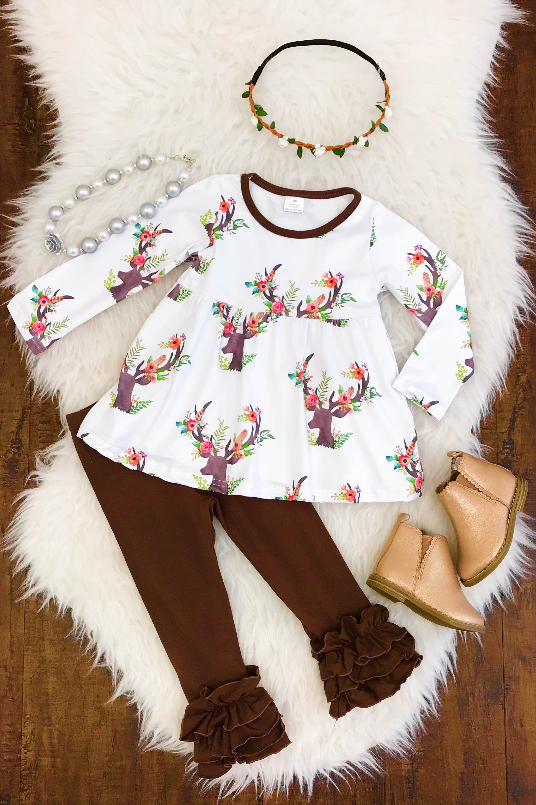 2d16709b515a2 Winter White with Deer Ruffled Pant Set. Winter White with Deer Ruffled  Pant Set White Tunic Tops, Cute Baby Girl Outfits,