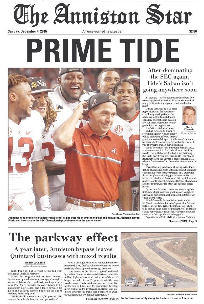 SEC Championship Newspaper Headlines - The Anniston Star