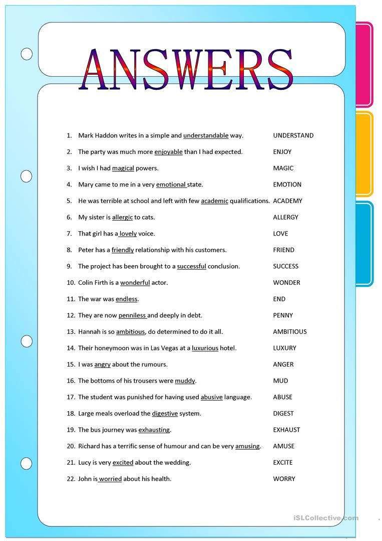 worksheet Free Verb Worksheets suffixes adjectives formed from nouns and verbs worksheet free esl printable worksheets made by