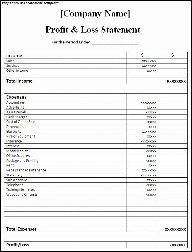 50 unique profits and loss statement template in 2020