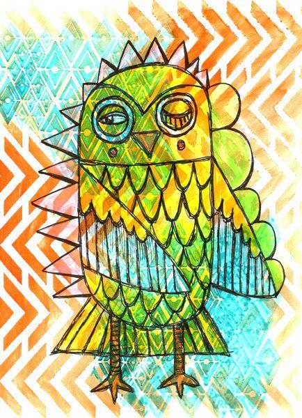 $55 9x12 Owl Chevron Painting 9x12 Watercolor Original Acrylic by sewZinski