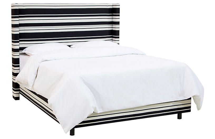 Allie Wingback Bed - Onyx Stripe - King Products Pinterest