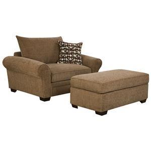 Beau Corinthian 5460 Chair And A Half And Ottoman   5461+5466
