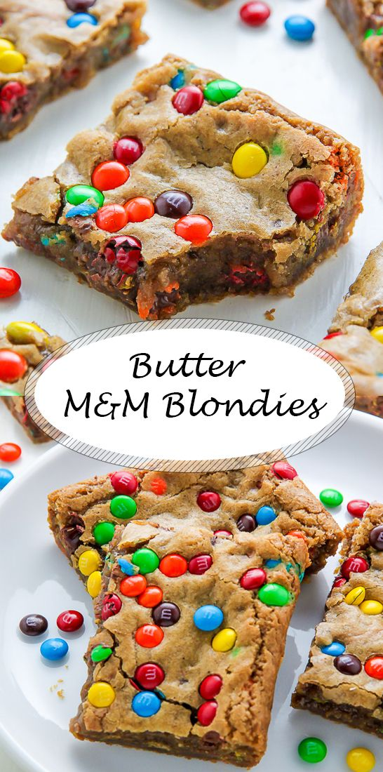 Leckere Butter M&M Blondies  #tortegeburtstag