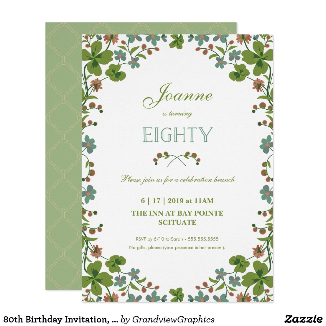 80th Birthday Invitation Vintage Floral Eightieth Card This Party Features A Style Border Of Green Pink And Blue Flowers