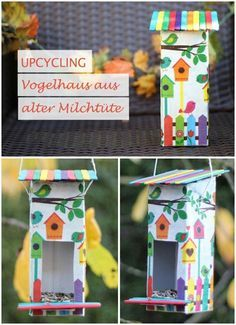 upcycling vogelhaus aus milcht te bird house made of milk carton kreativ vogelhaus basteln. Black Bedroom Furniture Sets. Home Design Ideas