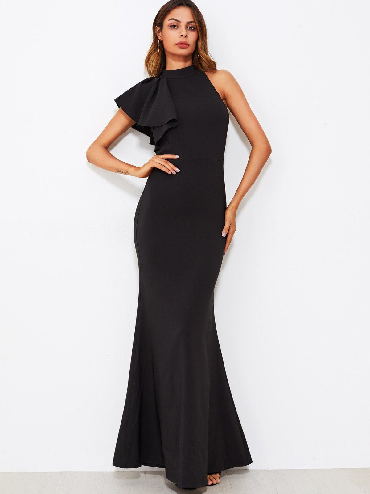 One sided flounce shoulder fishtail dress fishtail shoulder and