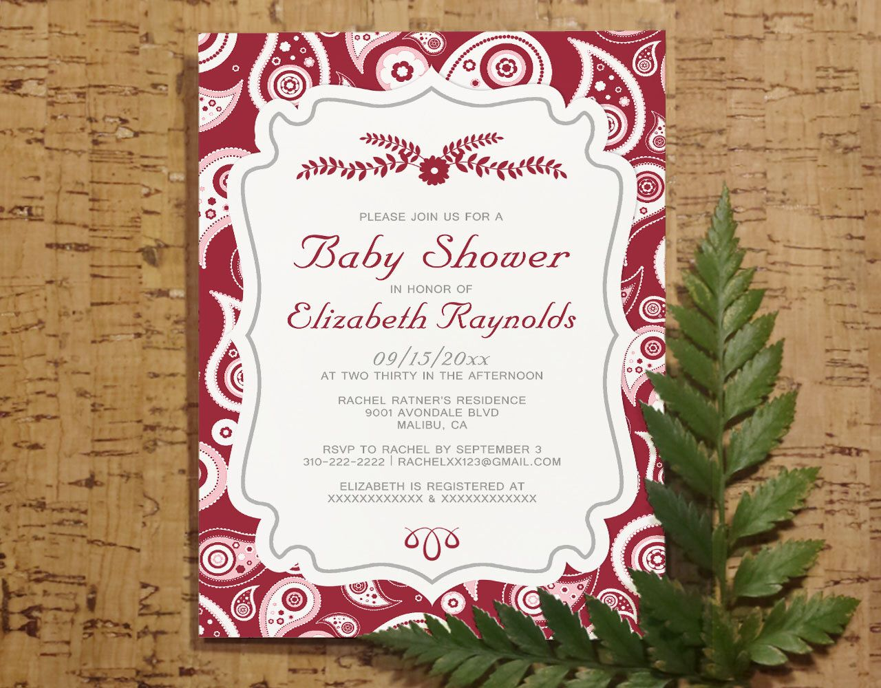 Paisley Indian Baby Shower Invitation Template Boy Girl Baby Shower