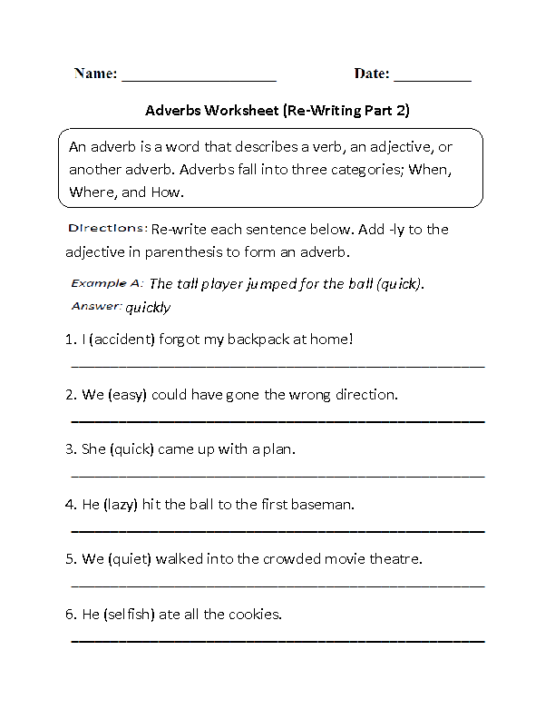 re writing adverbs worksheet part 2 beginner learn and gro adverbs worksheet adverbs. Black Bedroom Furniture Sets. Home Design Ideas
