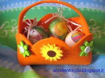 Idee Pasquali In Feltro : Decorazioni per pasqua: cestino porta uova in feltro idee pasquali