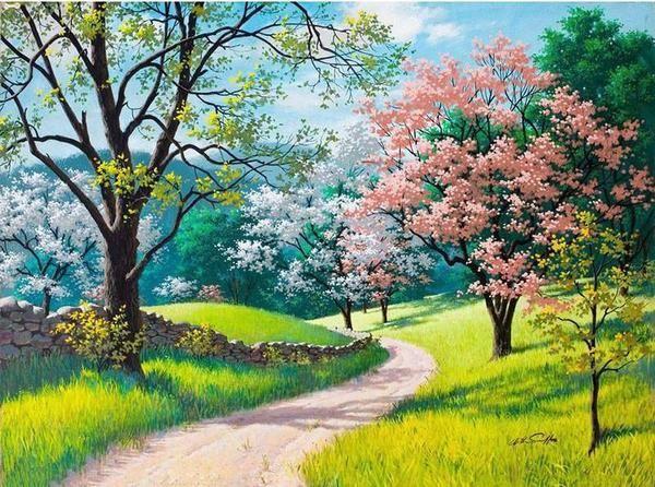 Diy Painting By Numbers Cherry Blossoms Trail 16 X20 40x50cm Spring Landscape Landscape Wallpaper Landscape Paintings