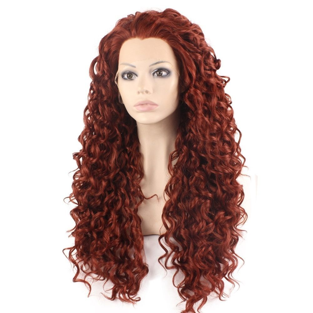 Long Curly Burgundy Red Heat Resistant Fiber Hair Synthetic Lace Front Wig   5596dab7a