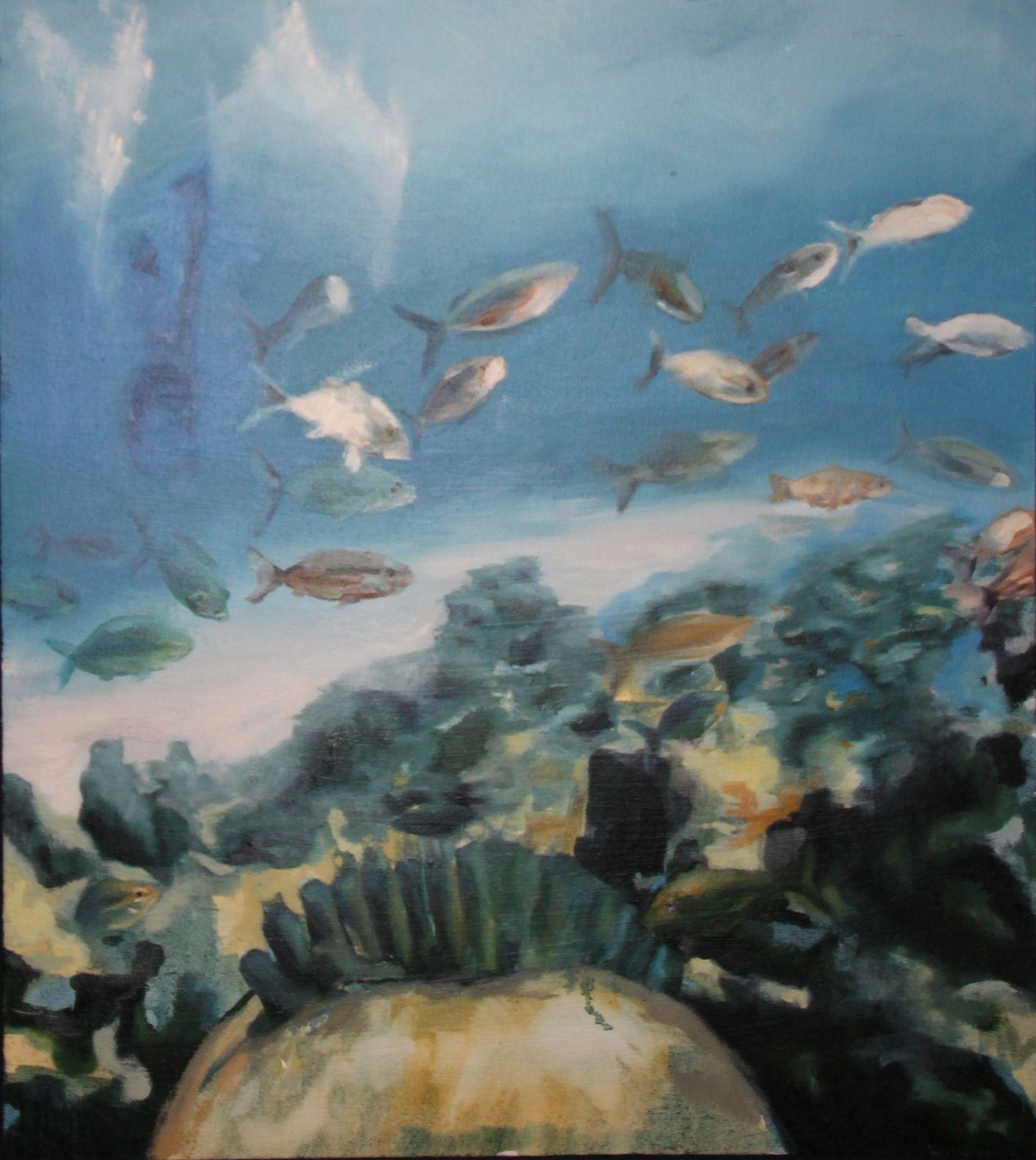Arrecife 2. Arrecife venezolano, con algún buzo pescado. A partir de fotografía hecha por un amigo.