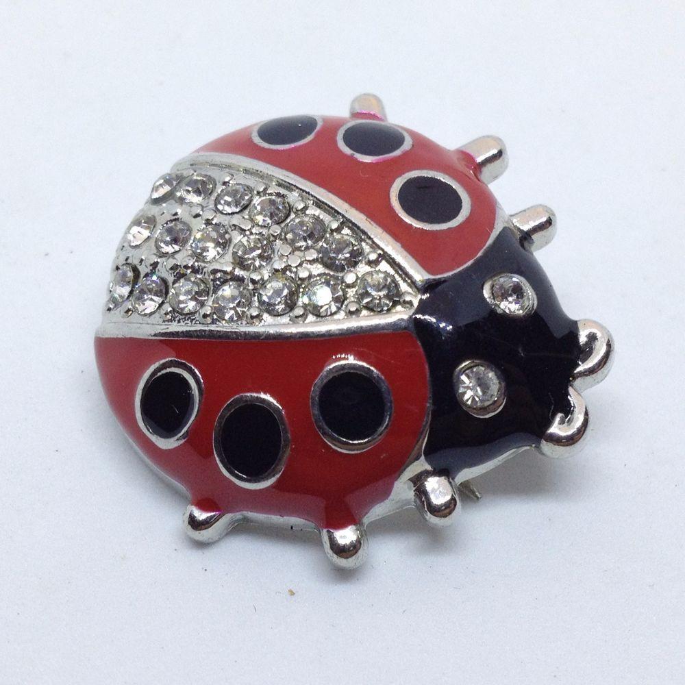 High Quality Vintage LADYBUG BROOCH PIN Red Black Enamel Clear Rhinestone Beetle Silver  Tone $5.00 Sale! #