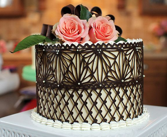 Chocolate Cake Decoration Templates : Chocolate Lace Cake on Pinterest Chocolate Decorations ...