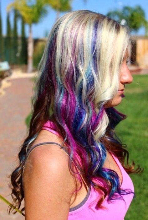 blonde pink purple blue teal peekaboo haleys hair