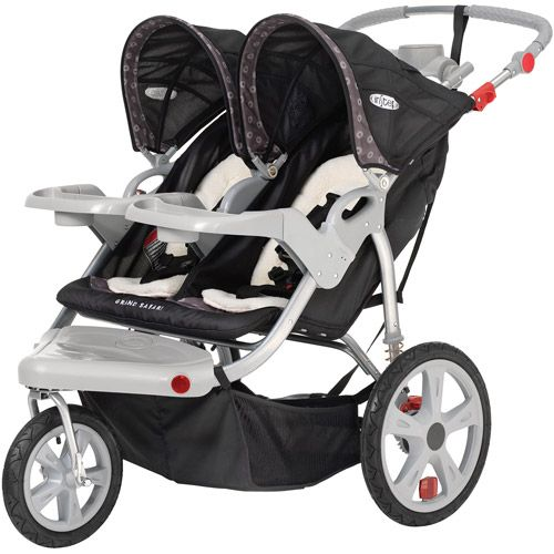 InStep Grand Safari Swivel Double Jogging Stroller, Black and Gray