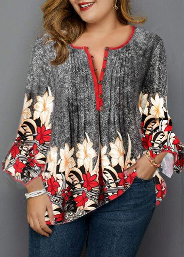 Plus Size Flower Print Crinkle Chest Blouse