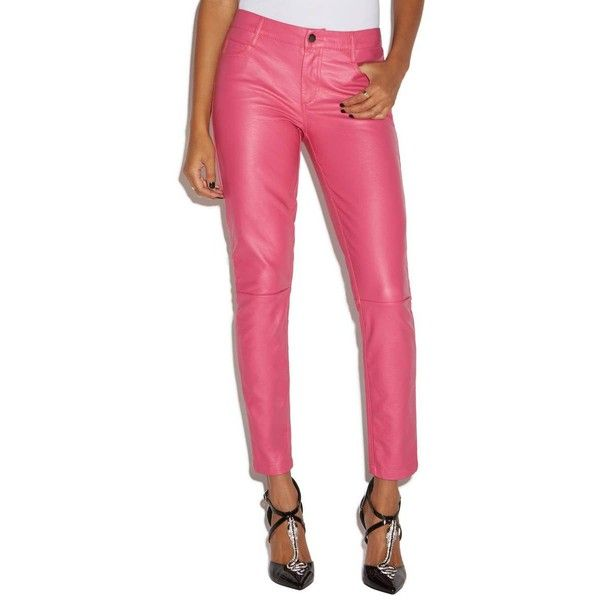 f1eeab604a64e ShoeDazzle Faux Leather Pant Womens Punch Pink ❤ liked on Polyvore  featuring pants, punch pink, faux leather pants, imitation leather pants,  pink trousers, ...