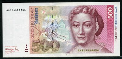 German currency 500 Deutsche Mark banknote 1991 Maria