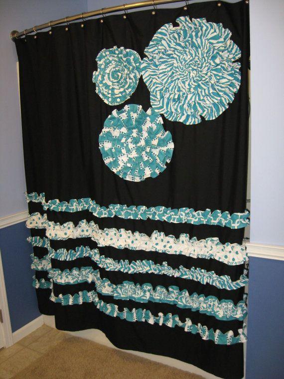 Good Shower Curtain Custom Made Fabric Ruffles Flowers Aqua Teal
