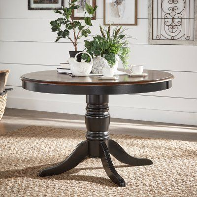Weston Home Two Tone 48 In Round Dining Table 1393bk 48 Mtl
