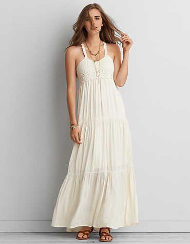 03a2bf56e11c AEO Crochet White Maxi Dress , Cream   American Eagle Outfitters ...