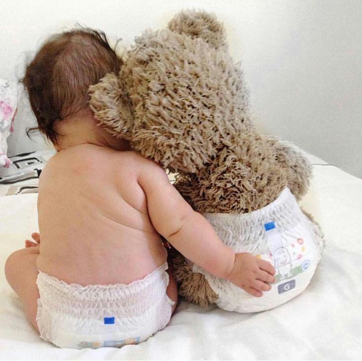 Baby and best friend Teddy,  #baby #friend #Teddy #teddybear