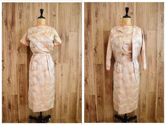1960er Jahren asiatische print Kleid mit Jacke von VintageTex