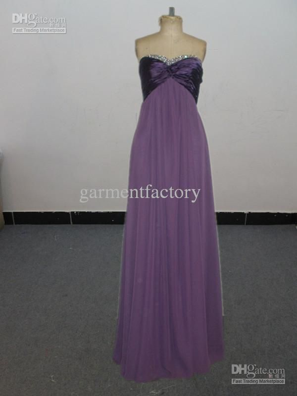 Wholesale Cheap Long Bridesmaid Dresses Strapless Sweetheart Cut A Line Purple Chiffon Formal Evening Gowns, Free shipping, $91.84-103.04/Piece | DHgate