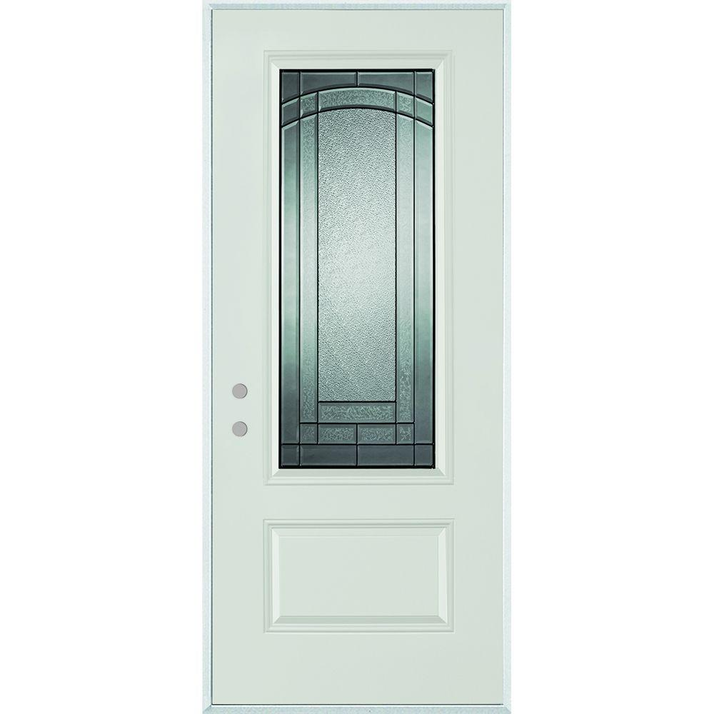 Stanley Doors 36 In X 80 In Chatham 3 4 Lite 1 Panel Painted Right Hand Inswing Steel Prehung Front Door 1538e Bn 36 R Steel Entry Doors Stanley Doors Steel Front Door