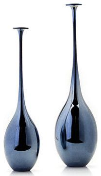 Exclusively designed by Z Gallerie, Black Pearl colored Seraphina vases. Mouth blown glass.