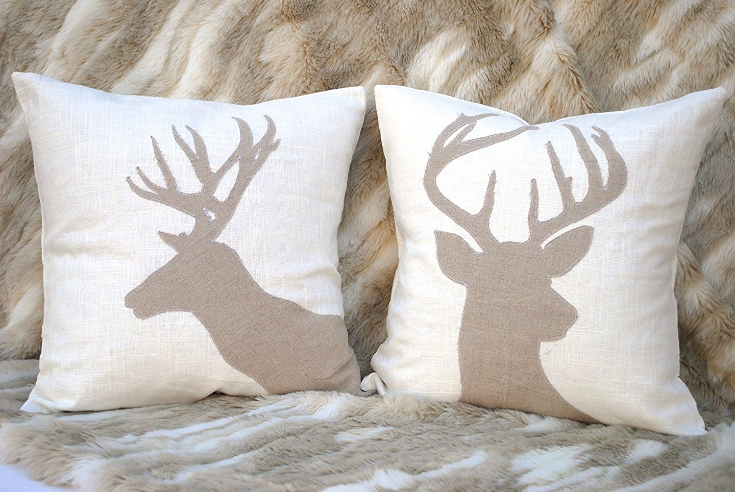 two reindeer christmas pillow covers 20x20 holiday pillow decorative pillow cushion christmas decoration tan pillow antlers reindeer pillow you