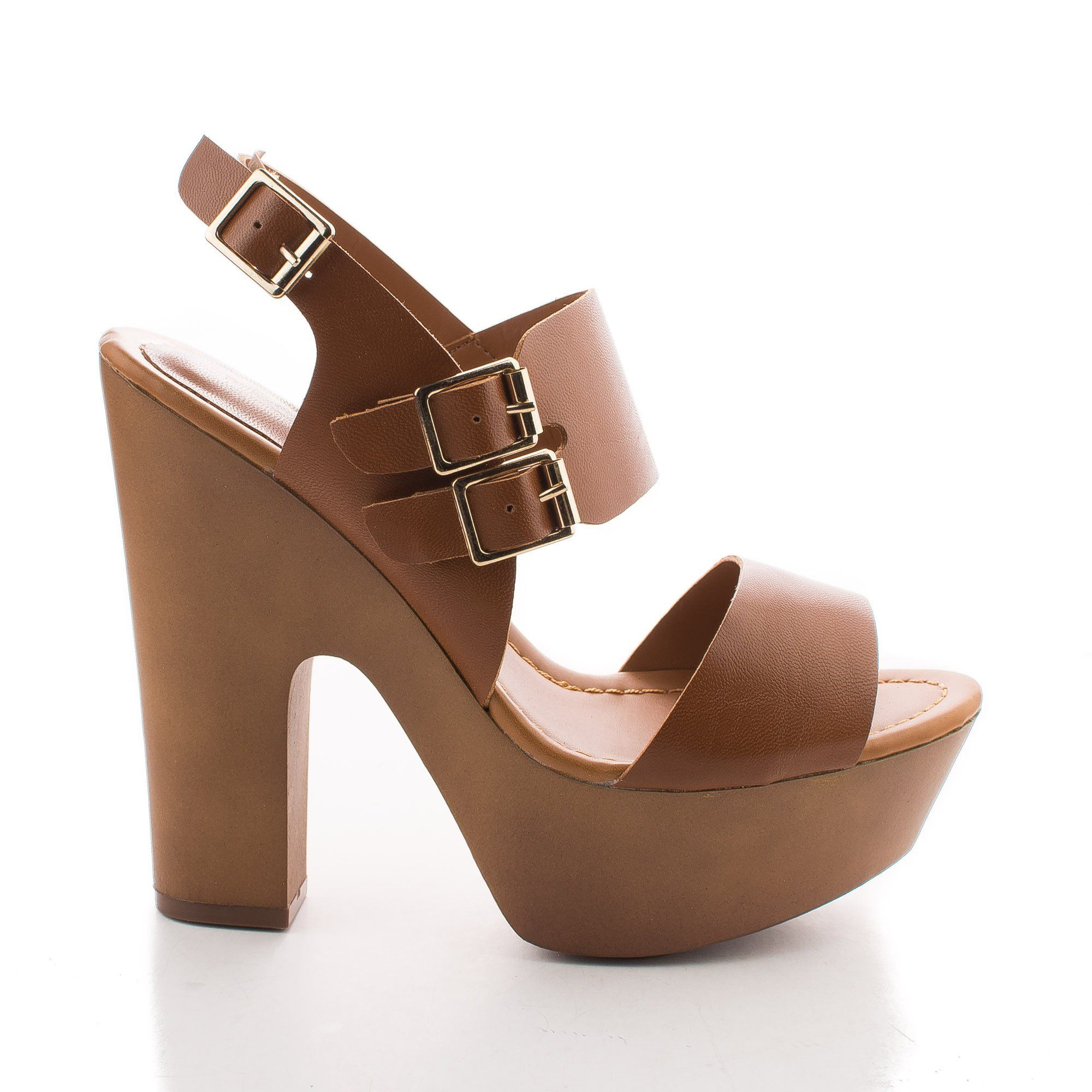 3398527b702 Rudy11 By Breckelle's, Strappy Multi Buckle Faux Wooden Platform ...