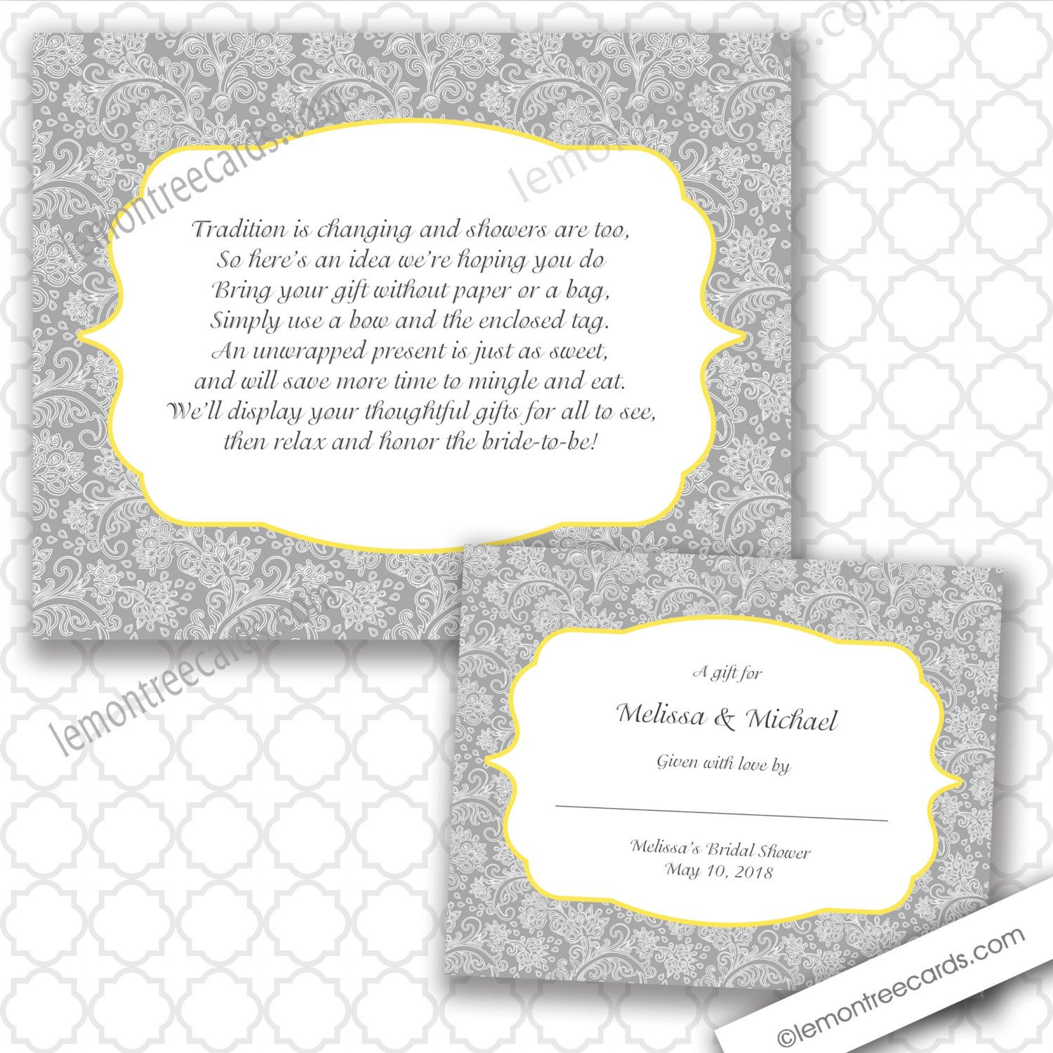 No Wrap bridal or baby shower insert and label by lemontreecards