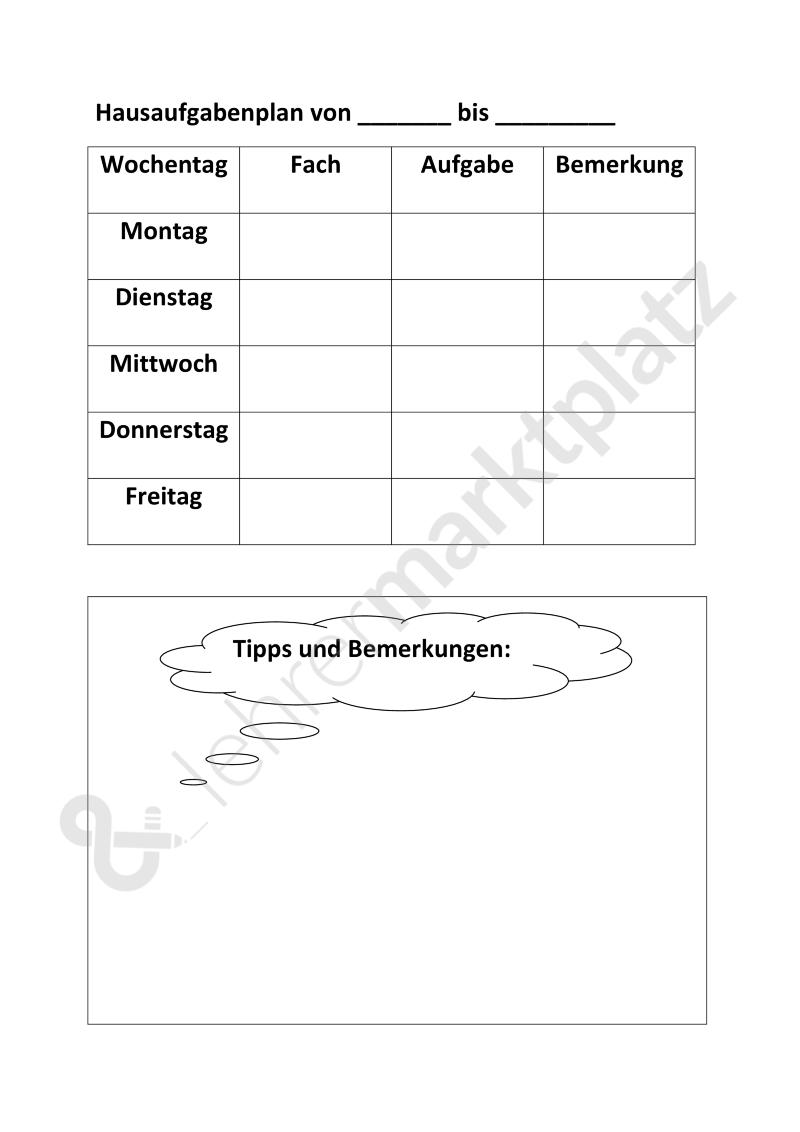 Hausaufgabenplan Zur Individuellen Nutzung Word Unterrichtsmaterial Im Fach Fachubergreifendes Lehrmaterial Lernen Planer