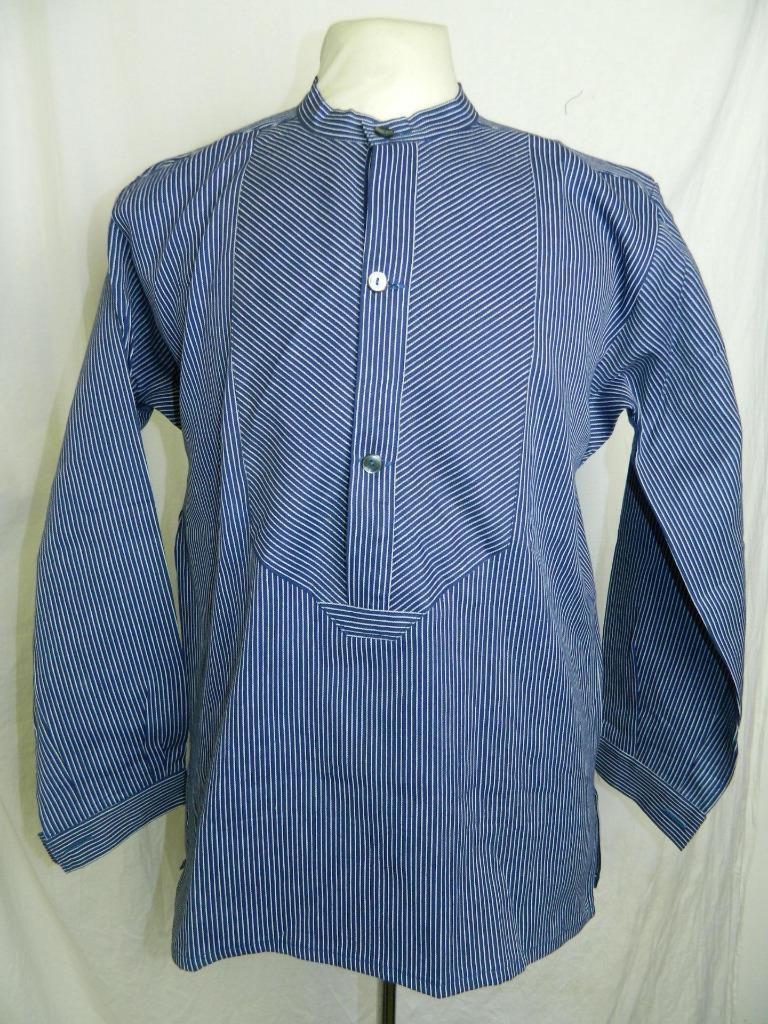 Vintage Blue White Striped Mariner Chore Smock Grandad Pullover ...