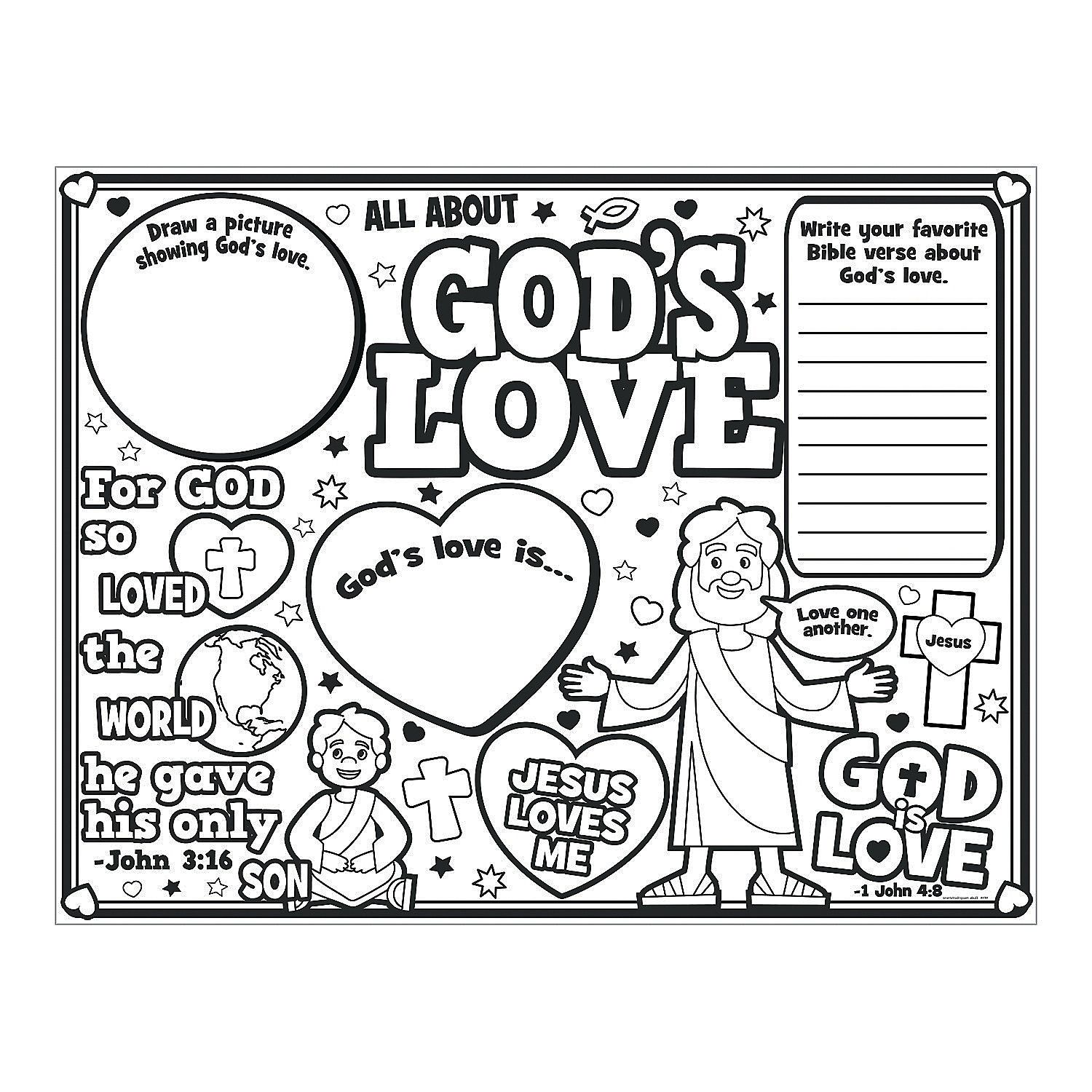 """color your own """"all about god's"""" love posters  sunday"""